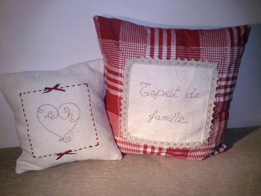 Coussins campagne pour belle maman made in me for Housse de coussin style campagne